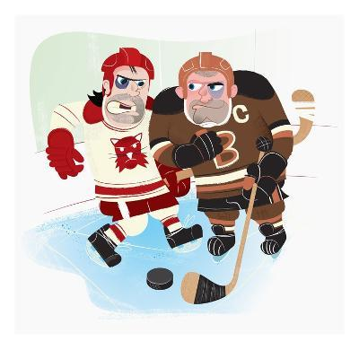 hockey players elbowing each other on the ice