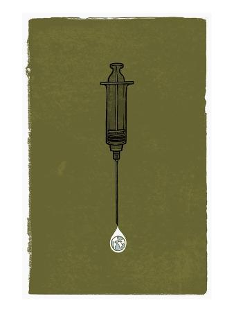 A Syringe with a Drip of Medicine That Has a Globe in It