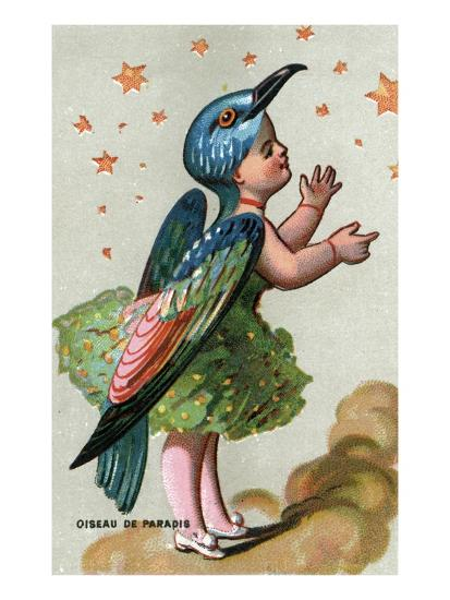 illustration of child dressed in bird of paradise costume giclee