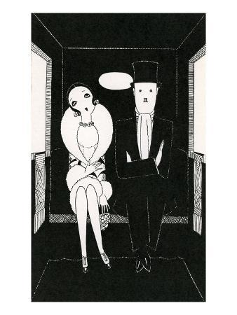 Illustration of Couple Sitting Inside Carriage by Anne Harriet Fish