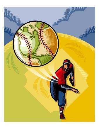 Baseball Player Throwing Earth Baseball