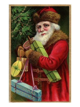 Postcard with Santa Claus Holding Presents