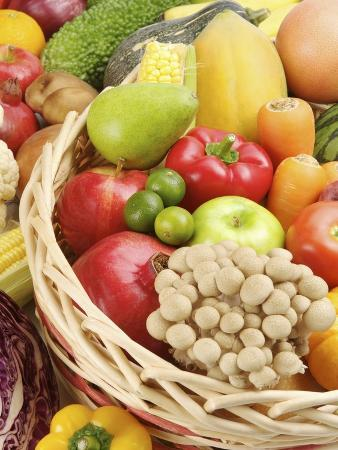 Stack of different kinds of fruits and vegetables in a basket