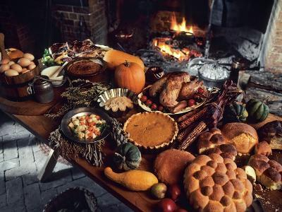 Table set with holiday foods