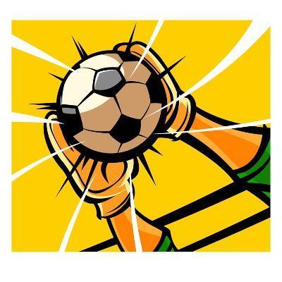 Goalkeeper's hands catching a soccer ball