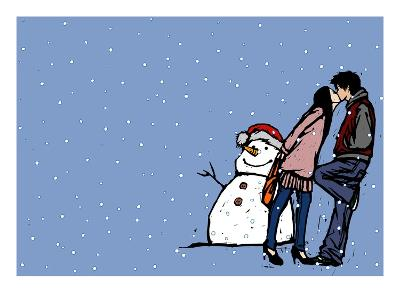 Side profile of a couple kissing each other near a snowman in snowing