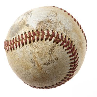 Baseball against white background close-up