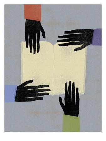 Hands Reaching For Book