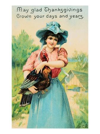 Pretty Lady with Turkey Thanksgiving Postcard