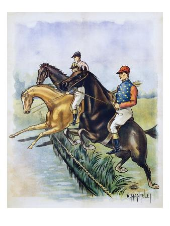 Poster of a Steeplechase Horse Race by A. Mantelet