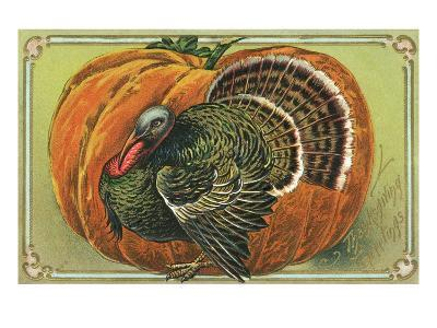 Thanksgiving Greetings with a Turkey and Pumpkin