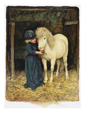 Illustration Depicting a Child Feeding a Pony by Harriet M. Bennett