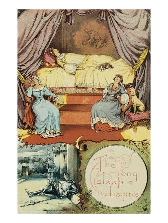 Book Illustration Depicting Sleeping Beauty and Her Attendants Asleep