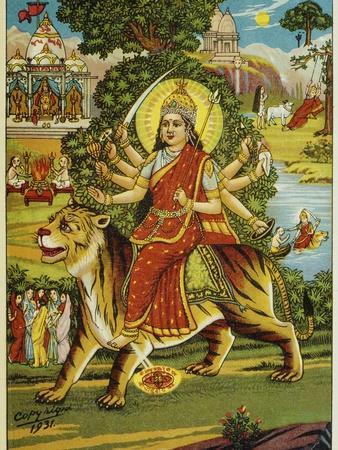 The Goddess Durga Color Lithograph