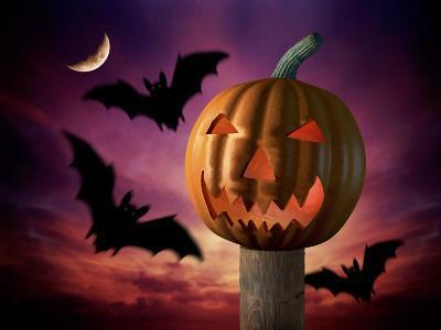 Scary Pumpkin and Bats