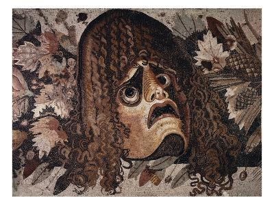 Mosaic of Tragic Mask from House of the Faun in Pompeii