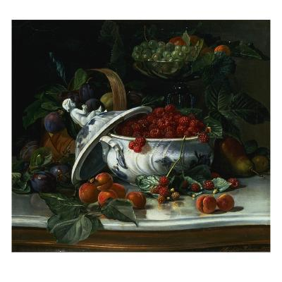 Plums, Grapes and Raspberries in a Porcelain Tureen
