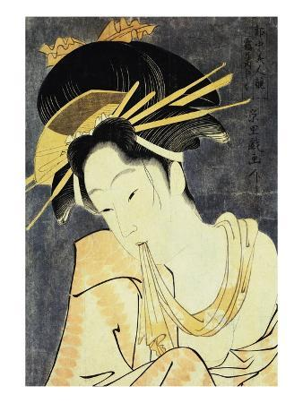 The Courtesan Kashiku of the Tsuruya Holding in Her Teeth an End of Cloth Draped Around Her Bare Sh