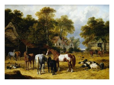 Horses, Cattle, Pigs and Chickens in a Farmyard