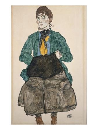Woman in a Green Blouse with a Muff