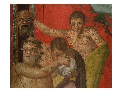 Detail of Silenus and Satyrs from Initiation into the Cult of Dionysus Fresco Cycle at the Villa of