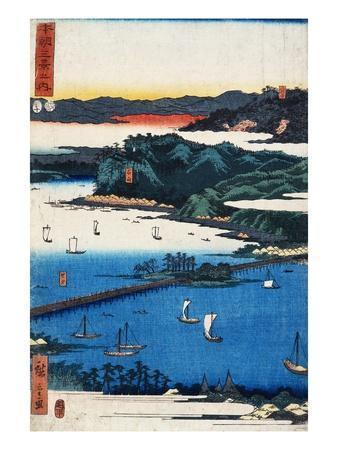 Print of Coastal Scene by Hiroshige