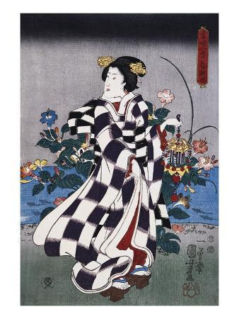 Japanese Print of a Woman Possibly by Yoshitoshi