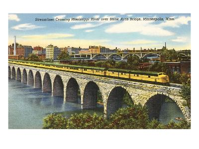Train Crossing Stone Arch Bridge, Minneapolis, Minnesota