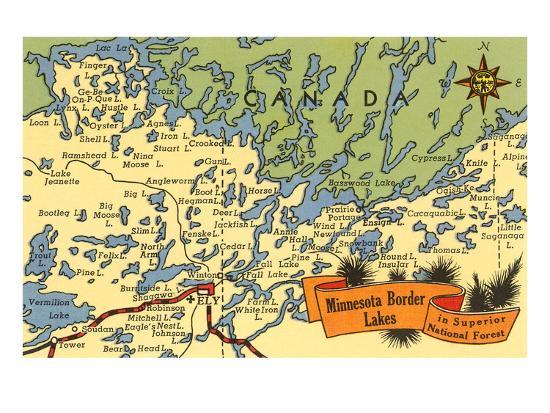 U Of Minnesota Map.Map Of Minnesota Border Lakes Print At Allposters Com