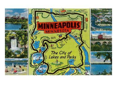 Map and Scenes of Minneapolis, Minnesota