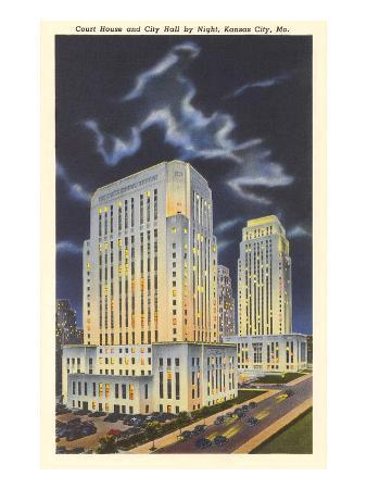Night, Courthouse and City Hall, Kansas City, Missouri