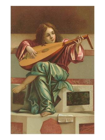 Painting of Child Playing Italian Lute