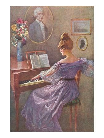 Old Fashioned Lady at Keyboard