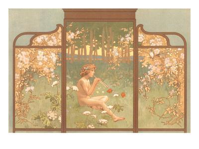Art Nouveau Screen with Faun Playing Pipes