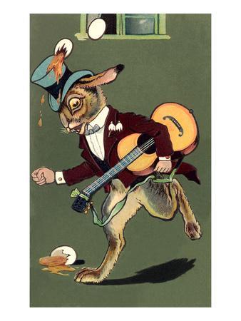 Rabbit with Guitar and Broken Eggs