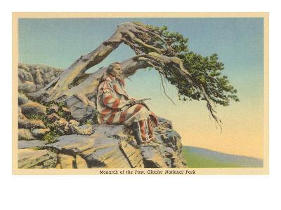 Indian with Bent Pine, Glacier Park, Montana