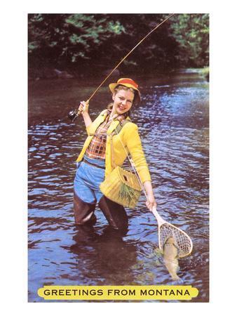 Greetings from Montana, Fishing Lady, Montana