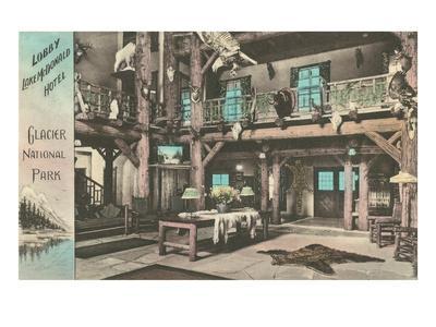 Lobby, Lake McDonald Hotel, Glacier Park, Montana