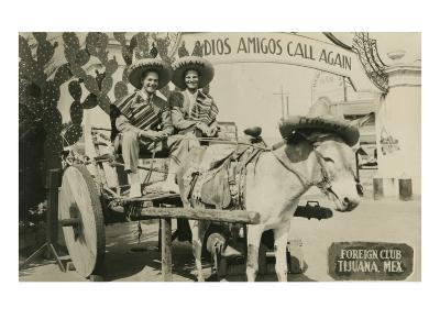 Tourists on Tijuana Burro Cart, Mexico