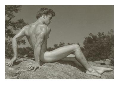 Naked Man Posing on Rock