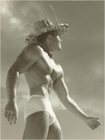 Muscle Man in Jockey Shorts and Straw Hat