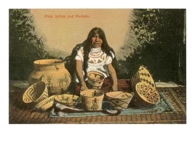 Pima Indian with Baskets