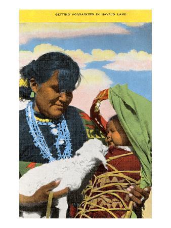 Navajo Mother, Baby and Lamb
