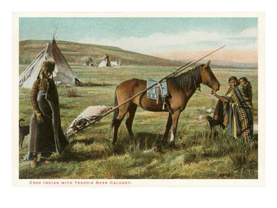 Cree Indian with Travois