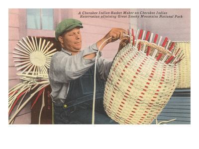 Cherokee Indian Basket Weaver, North Carolina