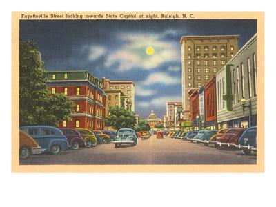 Moon over Fayetteville Street, Raleigh, North Carolina