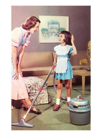 Mother and Daughter with Vacuum, Retro