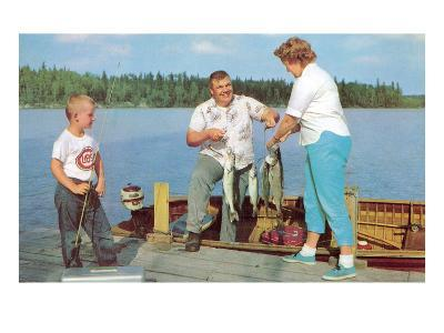 Family Fishing on Midwestern Lake, Retro