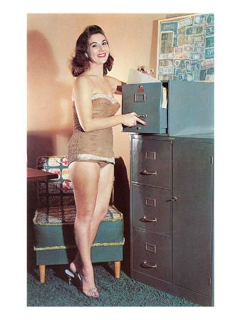 Woman in Bathing Suit with File Cabinet, Retro