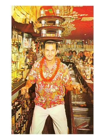 Aloha-Shirted Bartender with Trays on Head